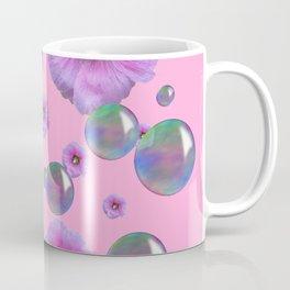 PINK-PURPLE FLOATING HOLLYHOCKS & SOAP BUBBLES PINK  ART Coffee Mug