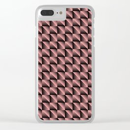 Pattern of pink squares and black triangles in a strip. Clear iPhone Case