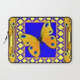Golden Yellow Yellow Spotted Butterflies Brown-Blue Art Laptop Sleeve