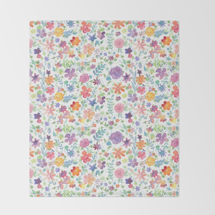 Colorful Whimsical Watercolor Flowers Pattern Throw Blanket