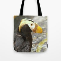 puffin Tote Bags featuring Puffin... by Nature In Art...