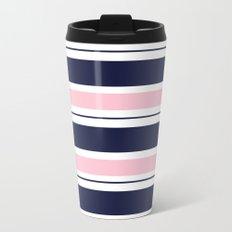 Blue Navy and Pink Stripes Metal Travel Mug