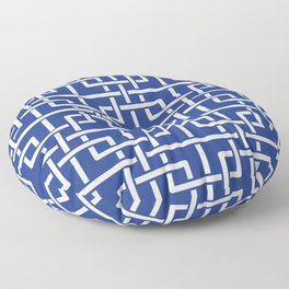 Tangled squares Chinoiserie in blue & white Floor Pillow
