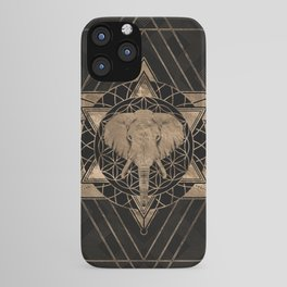 Elephant in Sacred Geometry Composition - Black and Gold iPhone Case