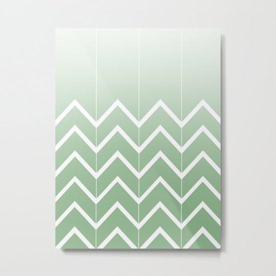 Broken Chevrons (Green) Metal Print
