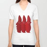 redhead V-neck T-shirts featuring RedHead by zeerowski