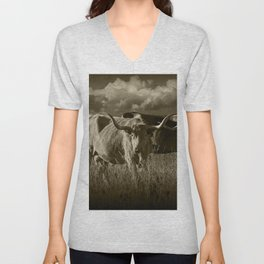 Sepia Tone of Texas Longhorn Steers under a Cloudy Sky Unisex V-Neck