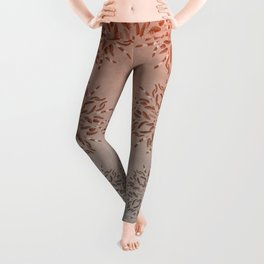 Apricot Gray Feather Mandala Leggings