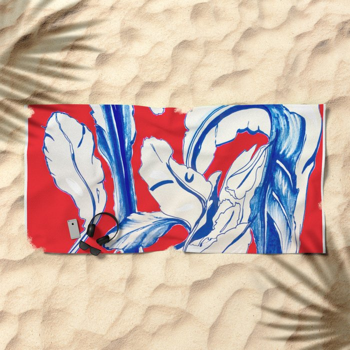 Plant in Blue Marker - Leaf of Life Miracle Leaf - RED Beach Towel