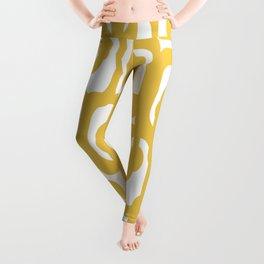 Mustard Yellow and White Mid-century Modern Loop Pattern Leggings