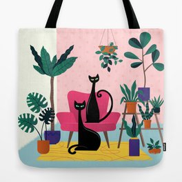 Sleek Black Cats Rule In This Urban Jungle Tote Bag