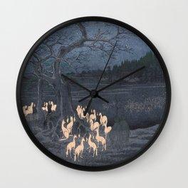 Utagawa Hiroshige - New Year's Eve Foxfires at the Changing Tree Wall Clock