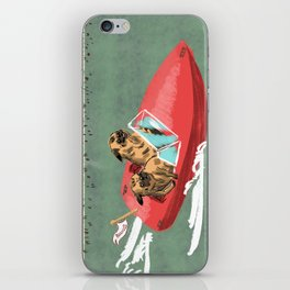Two Pugs in a Speed Boat iPhone Skin