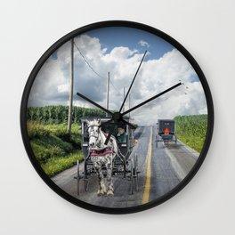 Amish Country Road Traffic Wall Clock