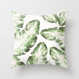 Tropical Leaves Green & White Throw Pillow