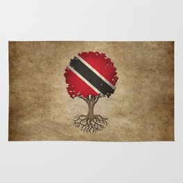Vintage Tree of Life with Flag of Trinidad and Tobago Rug