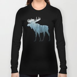 Misty Forest Moose Long Sleeve T-shirt