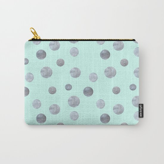 Silver dots on mint Carry-All Pouch