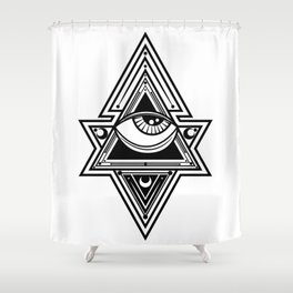 The All Seeing Eye Roll - Hard Black Shower Curtain