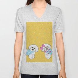Bichon Frise Holidays yellow cute dogs, Christmas gift, holiday gift, birthday gift, dog, Bijon Unisex V-Neck