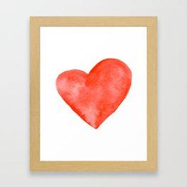 Red Watercolor Heart Framed Art Print