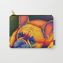 Colorful French Bulldog Rainbow Dog Pet Portrait Carry-All Pouch