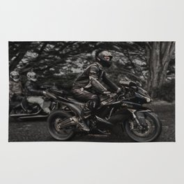 Black Kawasaki Ninja Motorcycle/Motorbike Rug