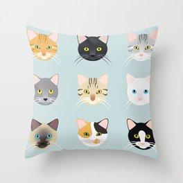 Cats Faces Throw Pillow