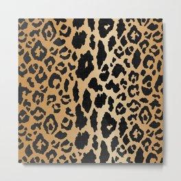 Leopard Print Linen Metal Print