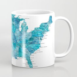 "Teal watercolor map of the USA with cities, ""Norvin"" Coffee Mug"
