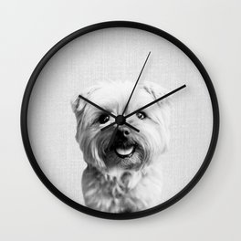 Dog - Black & White Wall Clock