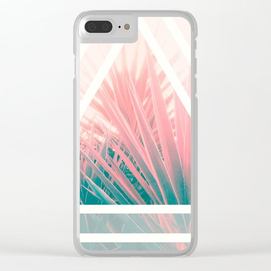 Pastel Palms into Triangle Clear iPhone Case