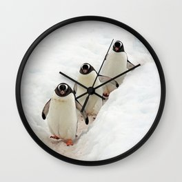 Gentoo Penguins on a Fishing Trip Wall Clock