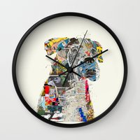 mod Wall Clocks featuring the mod boxer by bri.buckley