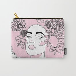 Black Woman Face with Pink Flowers Carry-All Pouch