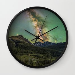 Milky way over nokhu crags Wall Clock