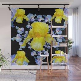 YELLOW & BLUE-WHITE IRIS BLACK ABSTRACT PATTERN Wall Mural