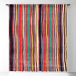 Qashqa'i Antique Fars Southwest Persian Striped Kilim Print Blackout Curtain