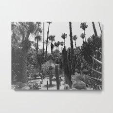 Tropical Cacti Gardens BW Metal Print