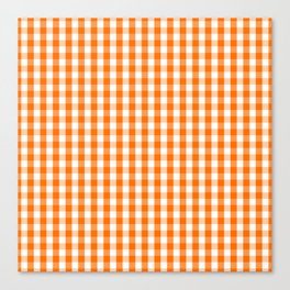 Classic Pumpkin Orange and White Gingham Check Pattern Canvas Print