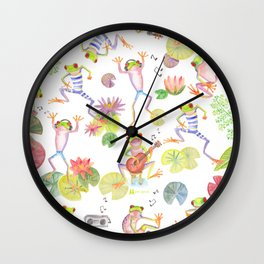 Party frogs Wall Clock