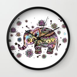 Cute Colorful Elephant Illustration Wall Clock