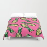 samsung Duvet Covers featuring Pineapple Pattern by Georgiana Paraschiv