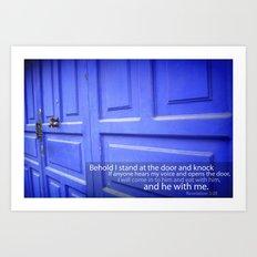 Blue Door With Revelation Verse Art Print