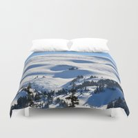 skiing Duvet Covers featuring Back-Country Skiing - II by Alaskan Momma Bear