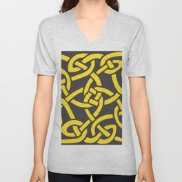 Decorative Charcoal Grey Color Yellow Celtic Art Unisex V-Neck