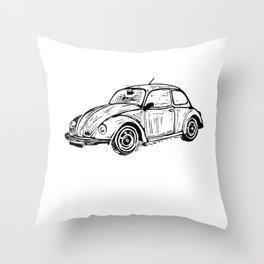Beetle Lino Print Throw Pillow