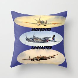 Spitfire Mosquito Lancaster Montage Throw Pillow