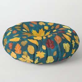 Autumn leaves seamless pattern background Floor Pillow