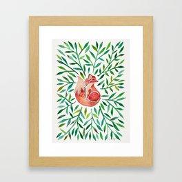 Woodland Fox – Green Leaves Framed Art Print